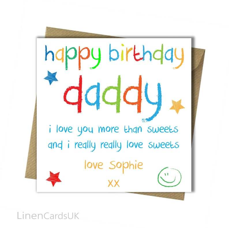 Personalised Birthday Card Daddy Father Dad From Child