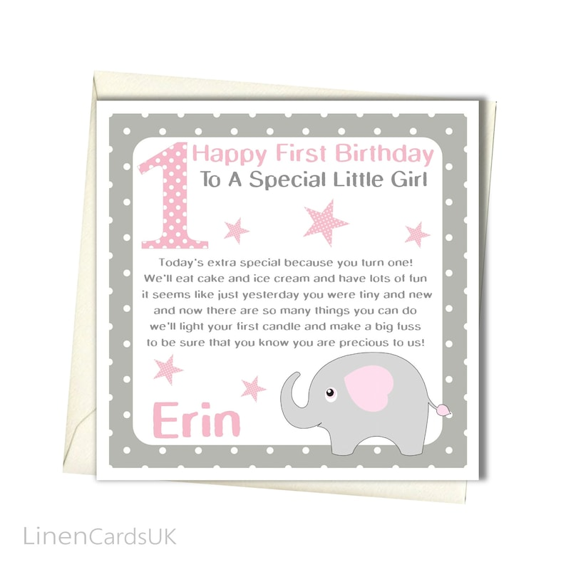 PERSONALISED Girls 1st Birthday Card First For Daughter Granddaughter Goddaughter Niece Babies