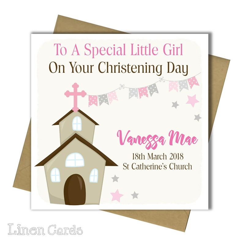 Personalised Girl Goddaughter Daughter Granddaughter Niece Christening Baptism Communion Card Personalized Card