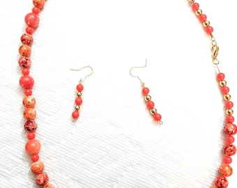 Orange necklace with matching earrings
