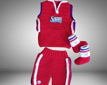 Basketball baby clothes, Philadelphia 76ers baby, Crochet basketball jersey, Crochet basketball shorts, Costumes for babies, Baby costume