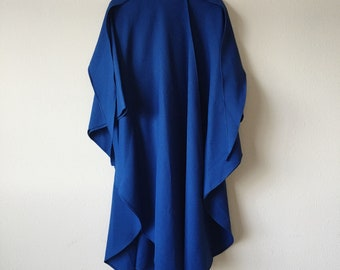 Vintage Blue Hooded Cape Poncho