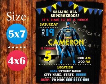 Batman Invitation Birthday Party Printable Invite Superheroes Digital