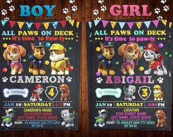 Paw Patrol Invitation Birthday Party Invite Digital Girl