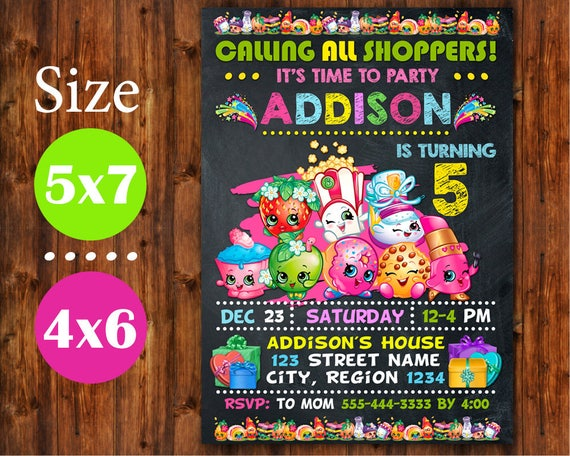 shopkins invitation shopkins birthday invitation shopkins etsy