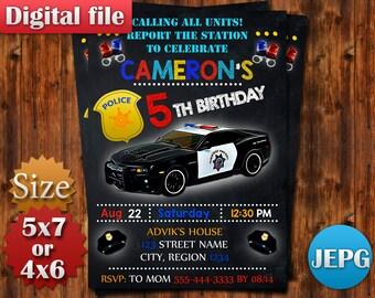 Police Car Birthday Invitation, Police Invitation, Policeman Party, Cop Theme, Police Birthday Invitation, Printable Digital.