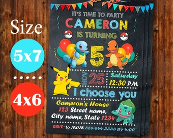 Pokemon Invitation, Pokemon Birthday Invitation, Pokemon Birthday, Pokemon Party, Pokemon Invites, Pokemon Birthday Party.