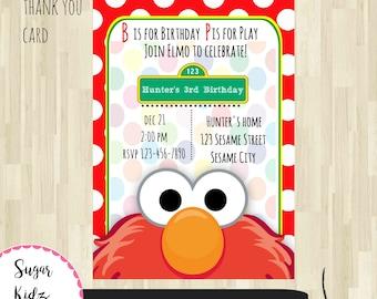 Sesame Street Party Invitation Birthday Invitations Elmo Digital Download Printable Instant