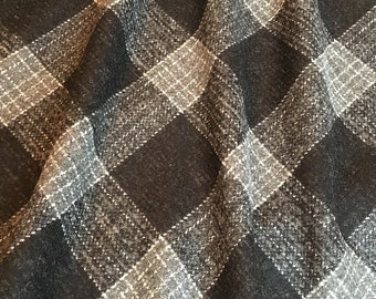 Wool/Viskoze Black/Grey Check Tweed  Fabric Houndstooth fabric for skirt,Jacket
