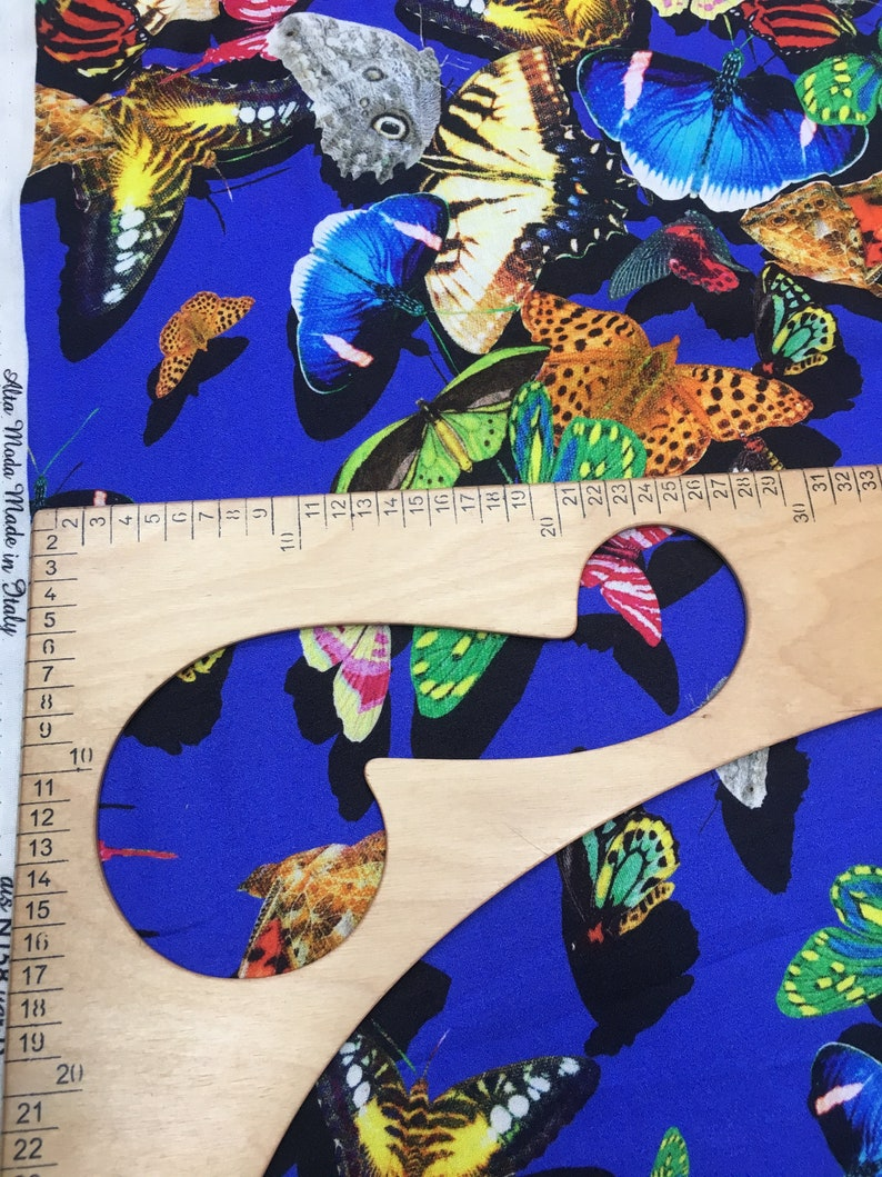 0,45 cm Bright Blue CornflowerBlue color with redyellowgreenorange  butterfly Pure Viscous Fabric for 0,5 yards