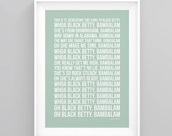 Tom Jones Black Betty Lyrics Poster Artwork Song Print