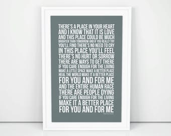 Michael Jackson Heal the World Lyrics Poster Print Wall Artwork Memorabilia