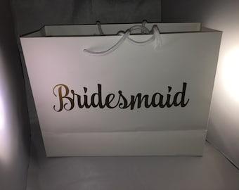 Gift bag, Bridesmaid gift bag, Maid of honour gift bag, Personalised gift bag, Vinyl text bag, Wedding party gift bag, Wedding, Gift bag