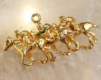 14K solid gold horse race pendant/charm