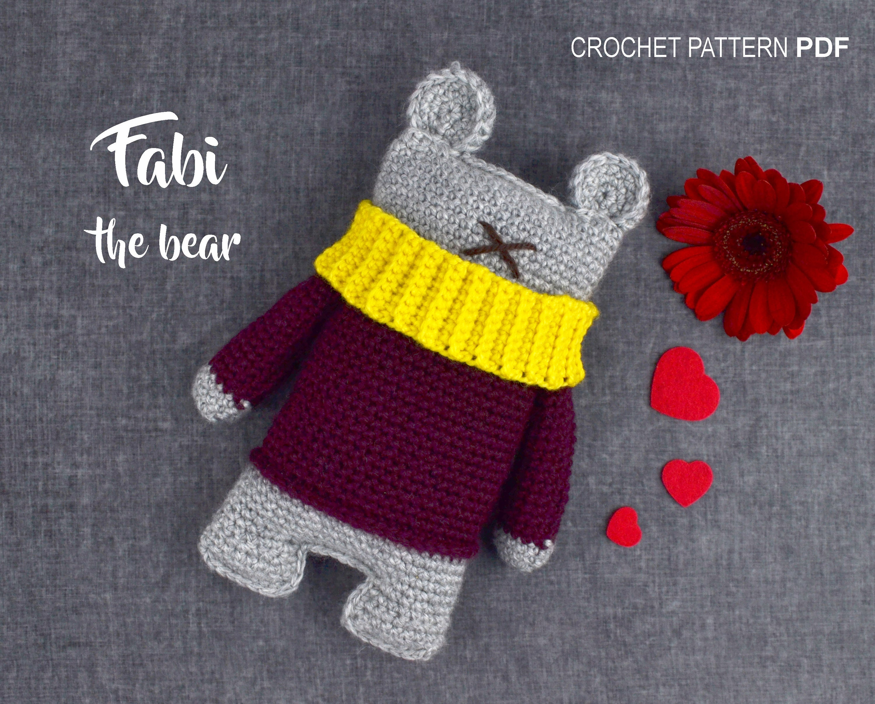 Crochet Pattern Pdf Amigurumi Fabi The Bear Garbi Artstudio Etsy Wrist Red Zoom