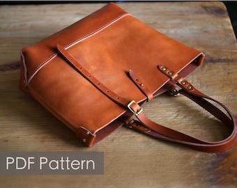72034681d929 Leather tote bag pattern  Minimalist tote Pattern template Leathercraft  Pattern PDF Pattern everyday tote  DIY pattern pdf sewing pattern