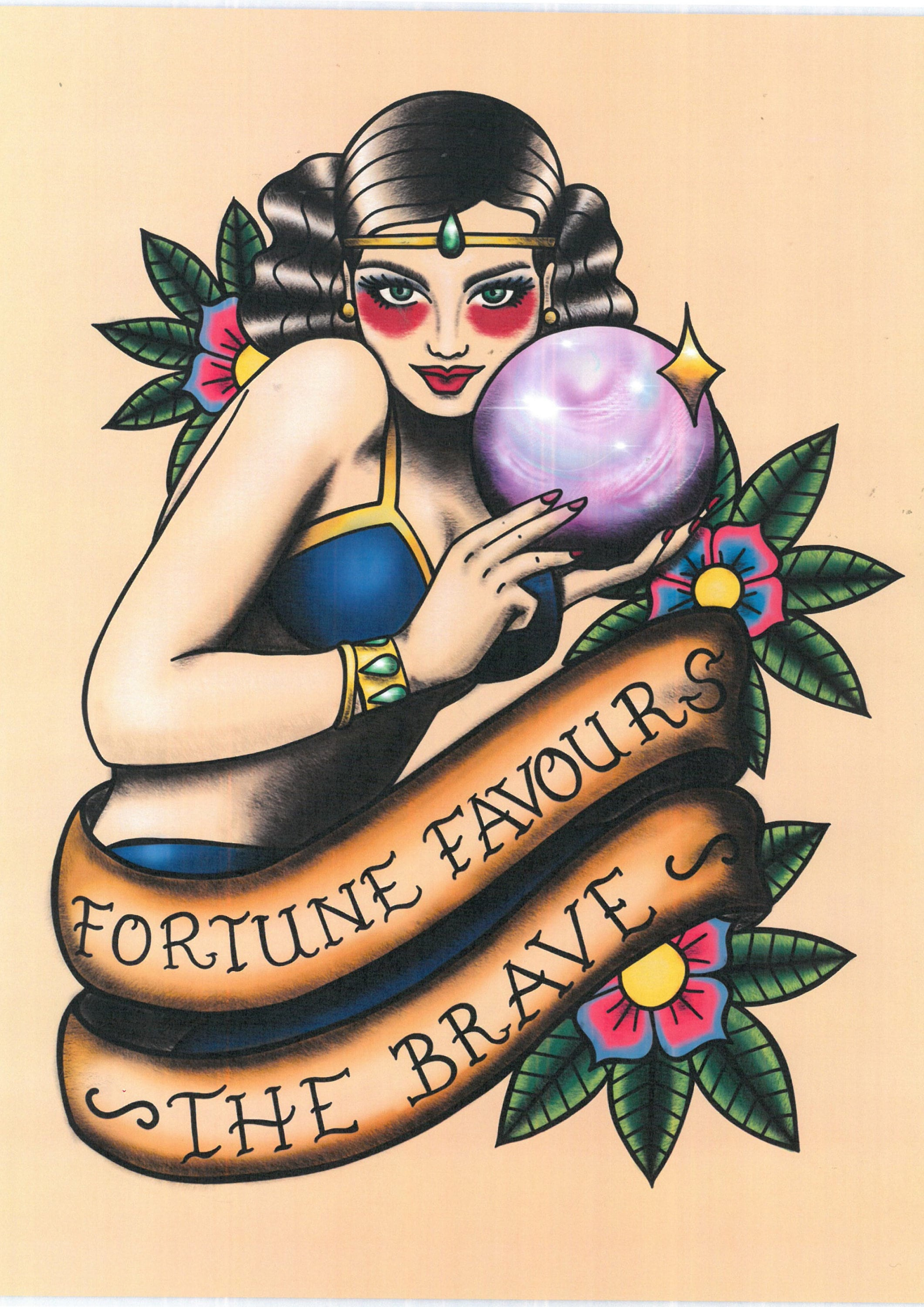 Fortune Favours The Brave Traditional Tattoo Print Neo Etsy