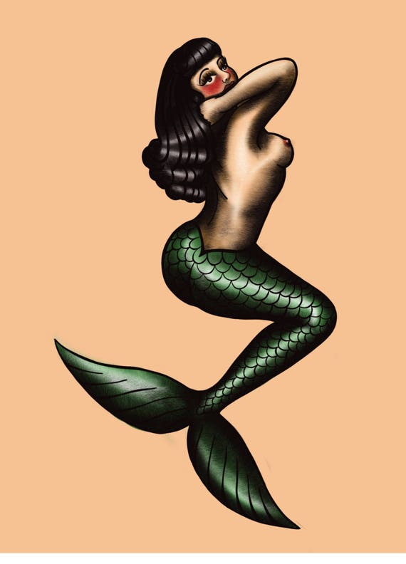 Traditional Tattoo Print Neo Traditional Mermaid Pin Up Girl Etsy