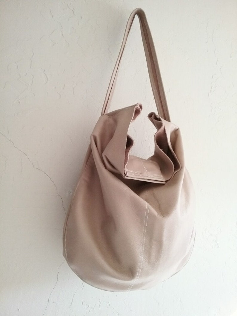f1d3c55a6e 40 % OFF Leather bag nude Bags on Sale Roomy hobo bag Nude