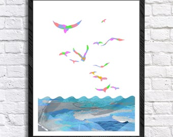 Geometric Minimalist Birds, Sea - Printable Wall Art