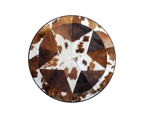"Round Cowhide Rug Tricolor Single Star 40"" or 60"""
