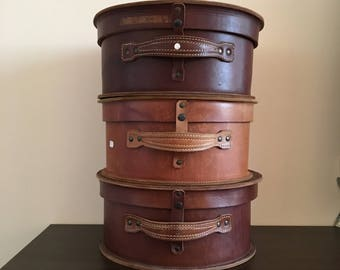 Natural leather hat box - Leather Hat box - Israel Hat Box - Streichman Natural leather hat box - home decor - vintage hat box - hat box