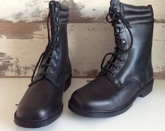 Military Boots - Boots - Black Leather Boots - Vintage Boots - Bulgarian Army