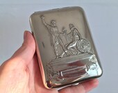 Vintage silver color metal cigarette case - Large vintage cigarette case - Accessory for Smokers - Cigarette Case - Double Sided Case