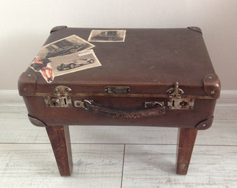Vintage suitcase end table - Handmade Suitcase table - Suitcase Side Table  - Suitcase table - Antique Suitcase Coffee Table 09981a08e5ccd