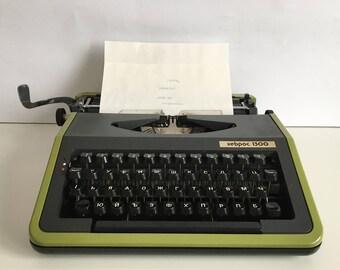 Typewriter Hebros 1300 - Bulgarian typewriter - Writing machine in Cyrillic alphabet - Portable typewriter - Vintage Typewriter
