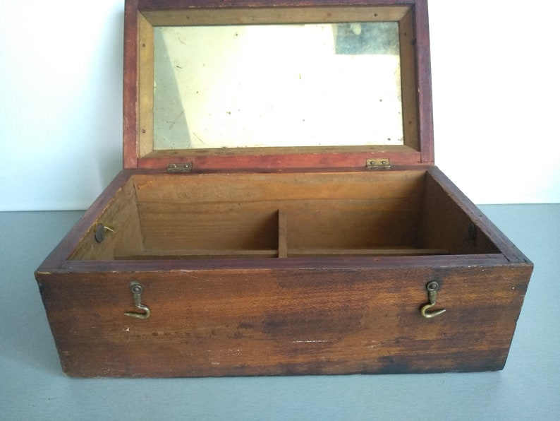 Vintage large wooden box box with mirror Wooden  box Handmade Wooden Box Vintage wooden box