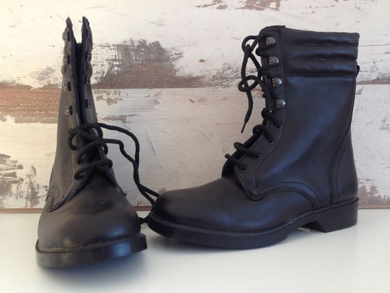 Military Boots - Boots - Black Leather Boots - Vin