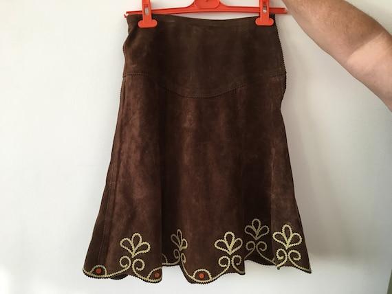 Vintage natural suede skirt - Vintage skirt - Retr