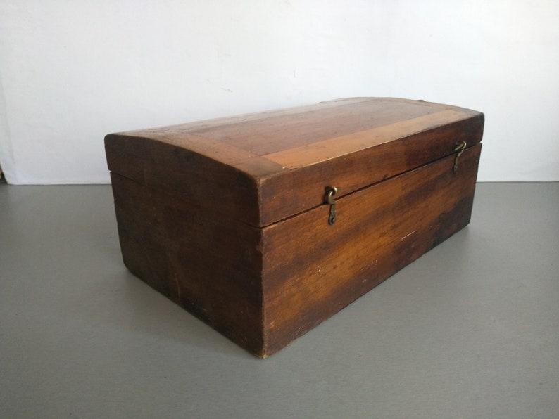 Handmade Wooden Box Vintage large wooden box Vintage wooden box Wooden  box box with mirror