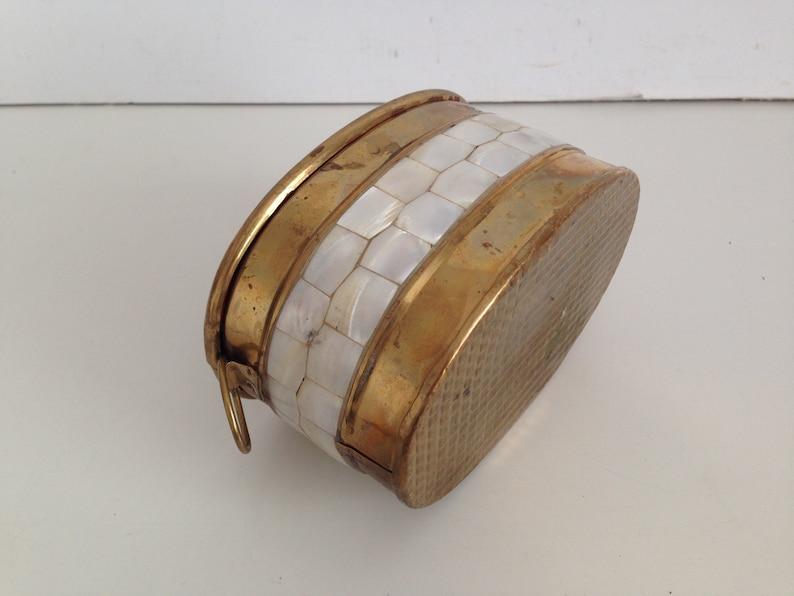 Trinket Box Brass of Mother of Pearl Trinket Box Mother of pearl and brass box