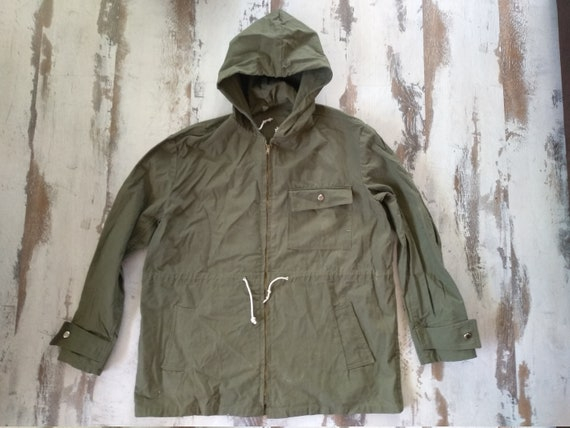 Vintage canvas jacket - Vintage anorak - Old green