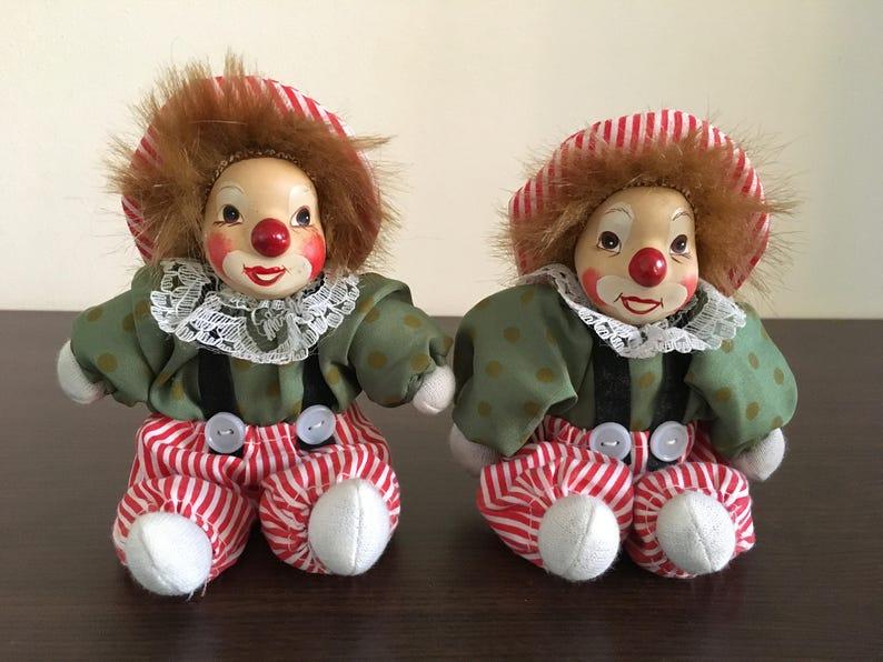 Vintage Set of 2 porcelain clown doll - Porcelain clown - 2 Porcelain Clown  Doll's - old items - Gift idea - Vintage item