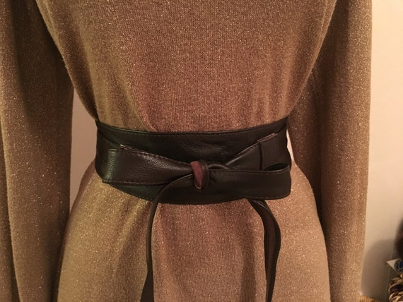 Genuine leather brown wrap belt - Brown soft real
