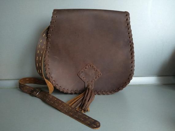 Vintage genuine leather bag - Retro leather bag -