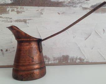 Old cezve - Turkish coffee pot - Copper coffee cezve - Copper Coffee Pot - vintage copper coffee cezve - gift idea - home decor - Vintage