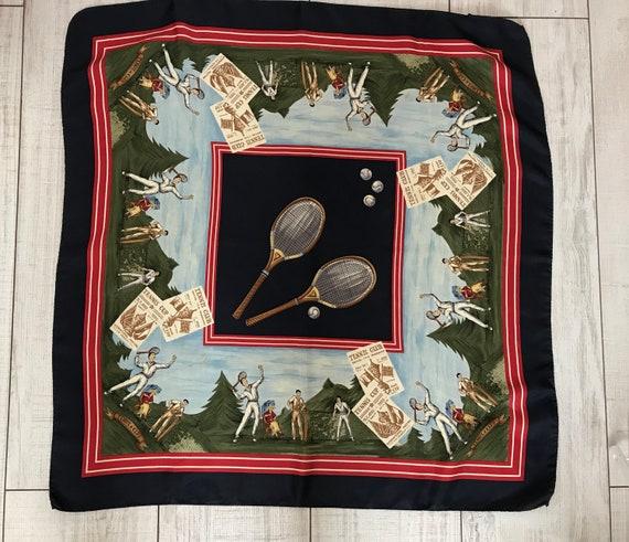 BREUER 100% silk scarf - Tennis club silk scarf -