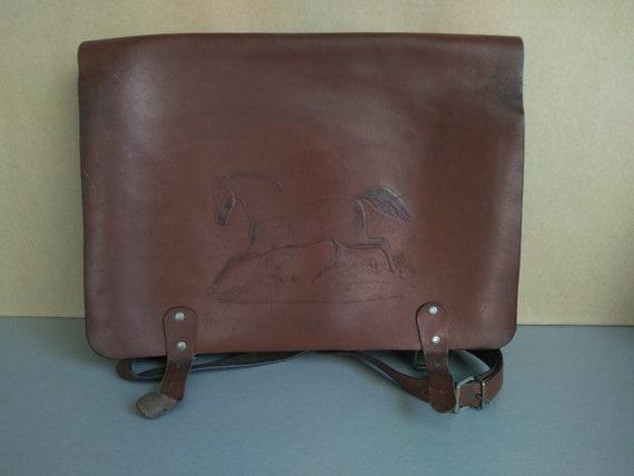 School bag - Vintage genuine leather bag - Retro l