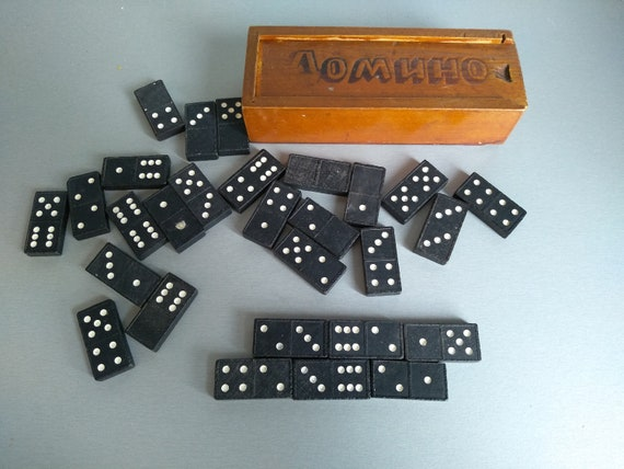Vintage dominoes Royal game toy retro pastime grandmas kids competition red dotted home decor play room kids room shelf piece mid century