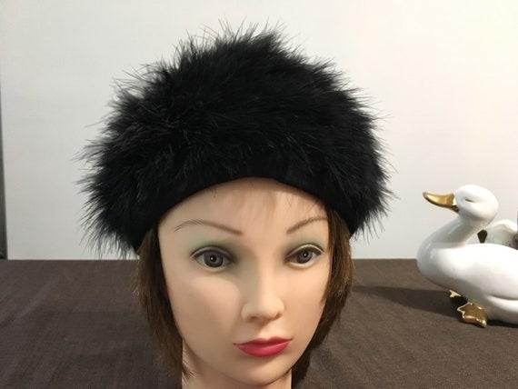 Vintage ostrich feather hat - Black ostrich feathe