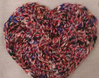 4 Crochet Heart Coasters