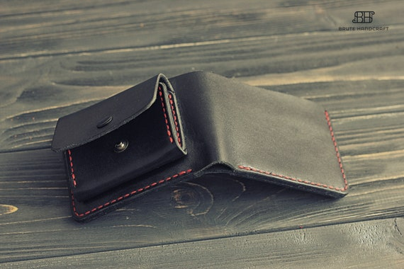 Personalized leather change purse wallet, Leather Coin and card holder, Mens coin purse, Leather Coin Case, Leather wallet with coin pocket