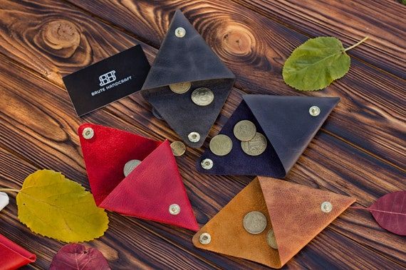 Personalized leather coin pouch, triangle coin holder, change purse, small  money purse, cable pouch, cable organizer, minimal coin wallet