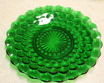 Vintage Green Bubble Cake Plate