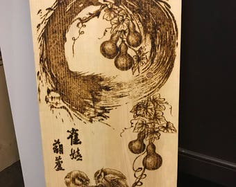 Wood burning Birds in zen circle pyrograpgy