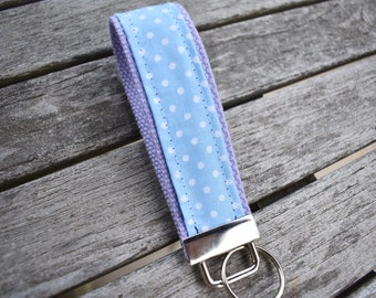 Polka Dot Key Fob,Blue and White Polka Dot Key Chain,Colorful Wristlet,Cotton Candy Inspired Car Keys Holder 1.25 in,Gift for Her,Daughter